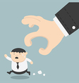 fat businessman trying to run away from hand vector image vector image