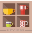flat color cups on shelf set vector image
