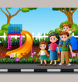 funny cartoon family in city park vector image vector image