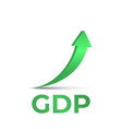 gdp high growth green arrow up icon gdp increase vector image vector image
