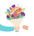 greeting card hand holding bouquet flowers vector image