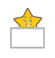 grinning star character cartoon style with board vector image vector image