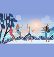 group young friends relaxing vector image vector image