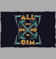 gym vintage label t-shirt design vector image vector image