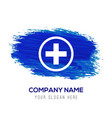 hospital plus sign button icon - blue watercolor vector image vector image