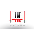 ik i k logo letters with red and black colors and vector image vector image
