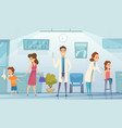 kids vaccination doctor in clinic medication vector image