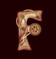 letter f of mechanic alphabet steampunk font vector image vector image