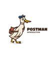 logo post man simple mascot style vector image