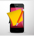 memo concept - empty papers on mobile phone vector image vector image