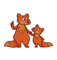 mother fox teaches small curious fluffy bapup vector image