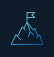 mountain with flag blue outline icon or vector image vector image