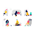 people spending weekend at home character vector image vector image
