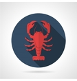 Red lobster flat round icon vector image