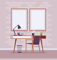 retro interior with wall frames for copyspace vector image vector image