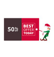 santa claus elf pulling promotion and discount pos vector image vector image