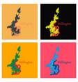 set of detailed flat map of wellington new zealand vector image vector image