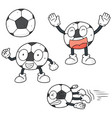 set of soccer vector image