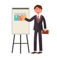 smiling man showing on charts by pointer textbook vector image vector image