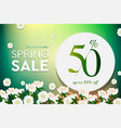 spring sale poster up to 50 off vector image vector image