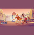 street basketball on city outdoor court vector image