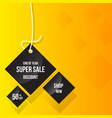 super sale tag triangle and rope hanging on vector image vector image
