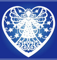template for laser cutting angel in a frame in vector image