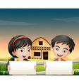 Two adorable kids with empty cardboards vector image