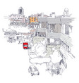 urban sketch of mecidiyekoy district of istanbul vector image vector image
