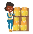Warehouse worker scanning barcode on box vector image vector image
