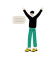 young man communicating with speech bubble flat vector image vector image