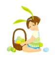 Little girl-bunny with a basket of eggs vector image