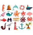 nautical elements and sea life collection vector image