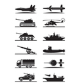 Military equipment icon set vector image