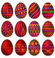 a set of red easter eggs with colorful patterns vector image vector image