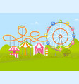 amusement park with ferris wheel and attraction vector image