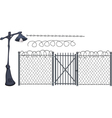 Barbed wire and street lantern vector image