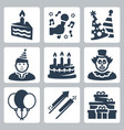 birthday and party icons set vector image