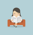 businesswoman reading a newspaper on the sofa vector image vector image