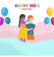 children playing in colorful dust happy holi vector image