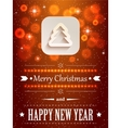 Christmas background with flares and paper icon vector image vector image