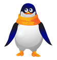 cute paunchy penguin in a yellow knitted scarf vector image