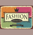 fashion boutique vintage sign vector image