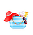 female bag with beach accessories set of summer vector image vector image