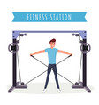 fitness station workout flat vector image vector image