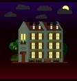 flat house at night three-storey vector image vector image