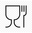 food safe material glass and fork symbol food vector image vector image