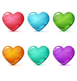 heart cartoon icon pink blue green yellow vector image