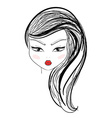 Isolated fashion girl with makeup and red lips vector image