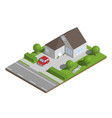isometric suburban house with garden and car vector image